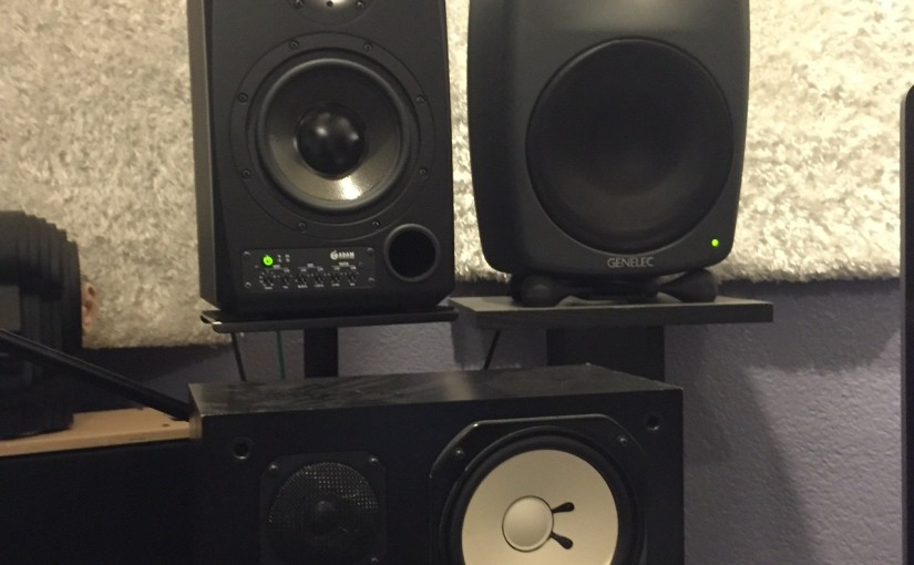 Adam S2X, Genelec 8050, and Yamaha NS-10.